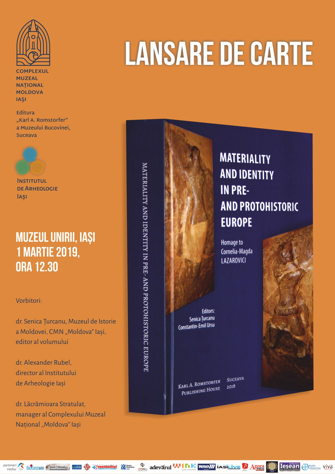 "Lansare de carte la Muzeul Unirii din Iași: ""Materiality and Identity in Pre- and Protohistoric Europe"""